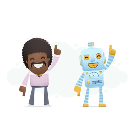 robot dancing disco with a man. conceptual illustration Vector