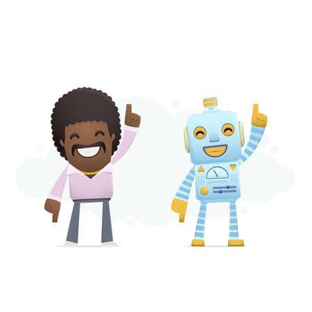 robot dancing disco with a man. conceptual illustration Vector
