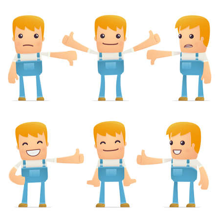 maintenance technician: set of mechanic character in different interactive  poses Illustration