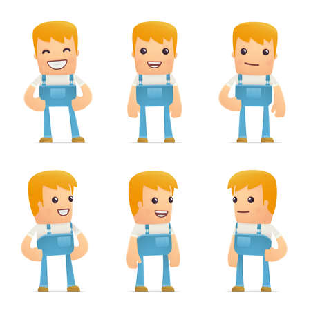 set of mechanic character in different interactive  poses Vector