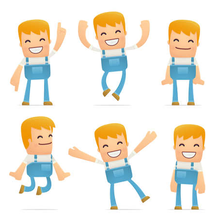 joking: set of mechanic character in different interactive  poses Illustration