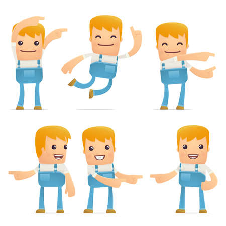 pipefitter: set of mechanic character in different interactive  poses Illustration