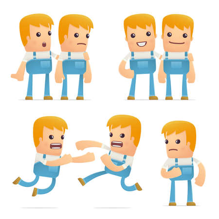 hassle: set of mechanic character in different interactive  poses Illustration