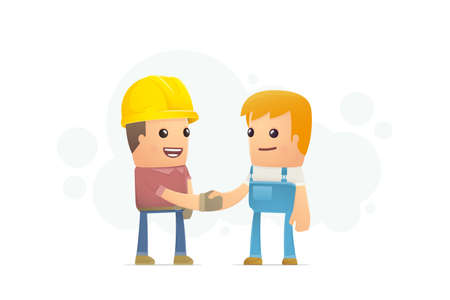 industrial worker: agreement between the builder and mechanic. conceptual illustration