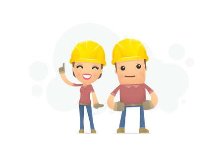 cartoon builder: builders family. conceptual illustration