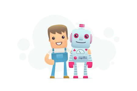 robot repair. conceptual illustration Vector
