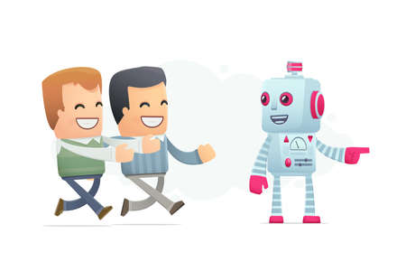 robot controls peoples minds. conceptual illustration Vector