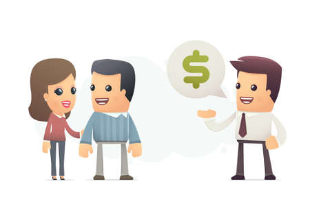 Manager offers customers a better deal. conceptual illustration Vector