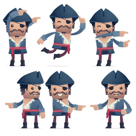 notion: set of pirate character in different interactive  poses