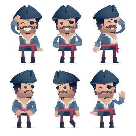 perplexity: set of pirate character in different interactive  poses