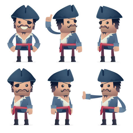sordid: set of pirate character in different interactive  poses