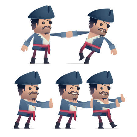 recondition: set of pirate character in different interactive  poses