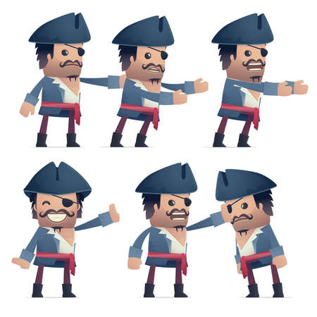 embargo: set of pirate character in different interactive  poses