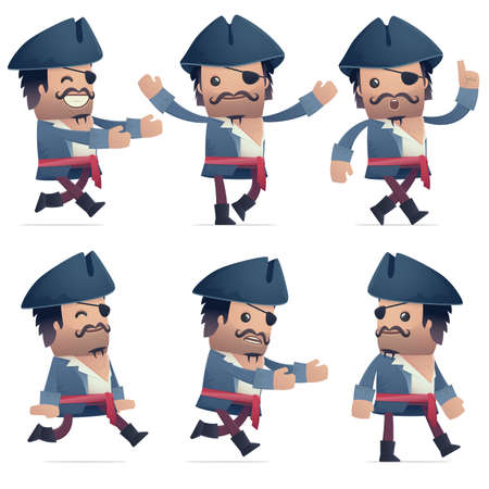 flurry: set of pirate character in different interactive  poses