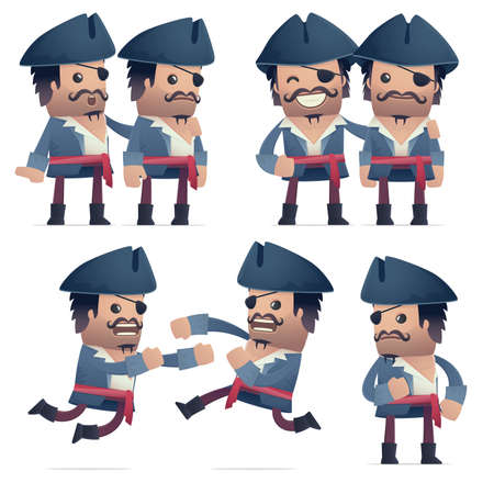 hassle: set of pirate character in different interactive  poses