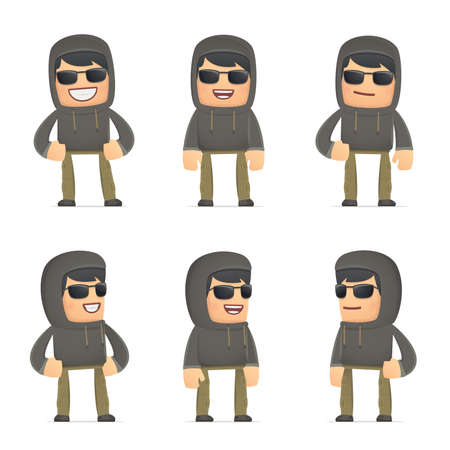 cartoon gangster: set of hacker character in different interactive  poses