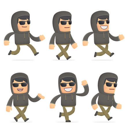 criminal activity: set of hacker character in different interactive  poses
