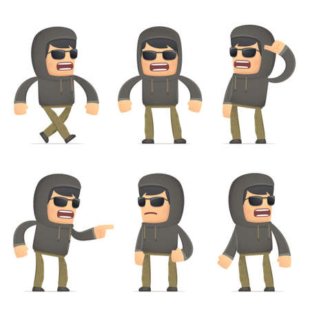 hoody: set of hacker character in different interactive  poses