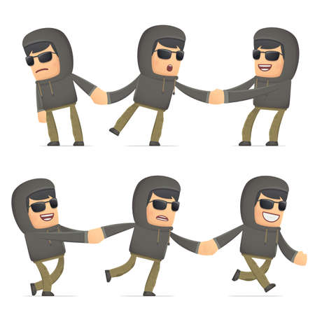 intrusive: set of hacker character in different interactive  poses