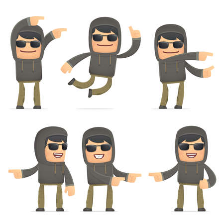 set of hacker character in different interactive  poses