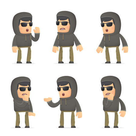 lies: set of hacker character in different interactive  poses