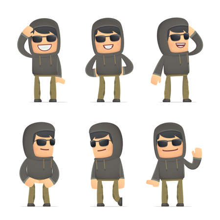 discomfiture: set of hacker character in different interactive  poses