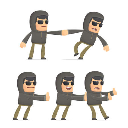 crime solving: set of hacker character in different interactive  poses