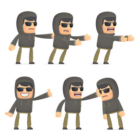 embargo: set of hacker character in different interactive  poses