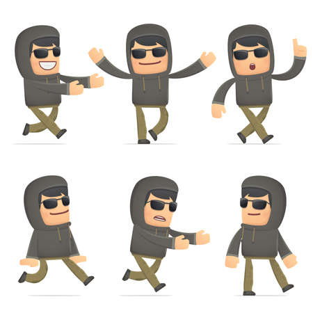 flurry: set of hacker character in different interactive  poses