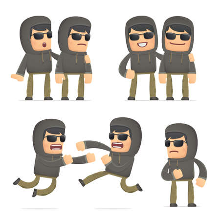 set of hacker character in different interactive  poses Vector