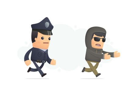 sergeant: police trying to catch a criminal. conceptual illustration