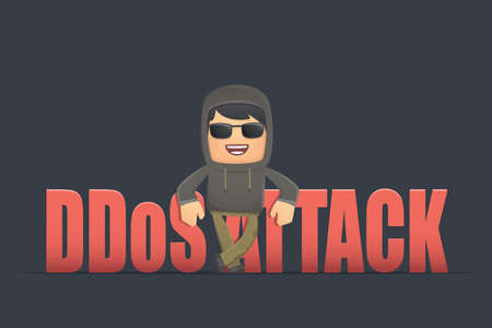 unauthorized: criminal hacker makes an unauthorized attack on the site. conceptual illustration
