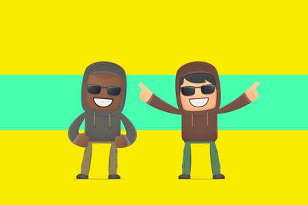 aggressive street hooligans. conceptual illustration Vector