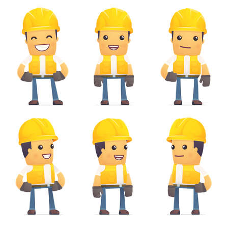 contractor: set of contractor character in different interactive  poses Illustration