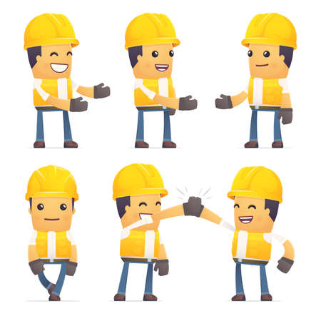 set of contractor character in different interactive  poses Ilustração