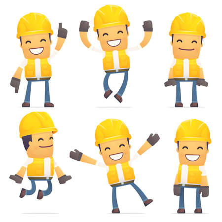 set of contractor character in different interactive  poses Vettoriali