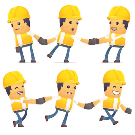 enforce: set of contractor character in different interactive  poses Illustration