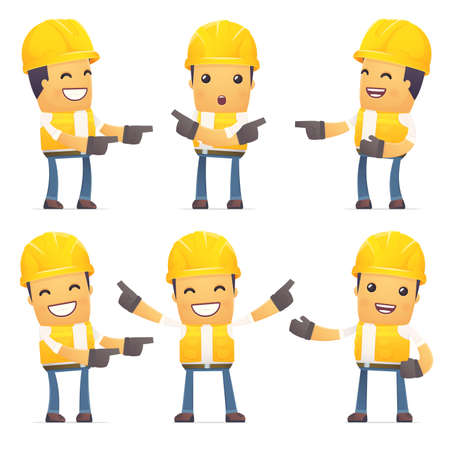 conception: set of contractor character in different interactive  poses Illustration