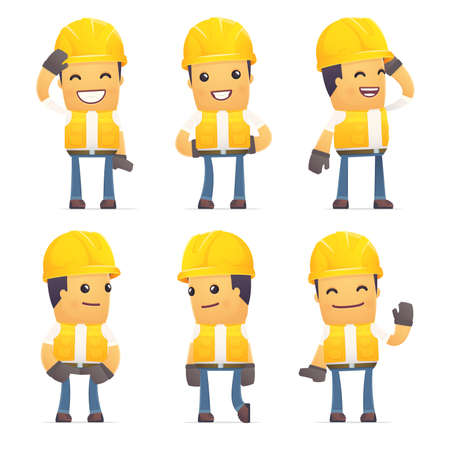 discomfiture: set of contractor character in different interactive  poses Illustration