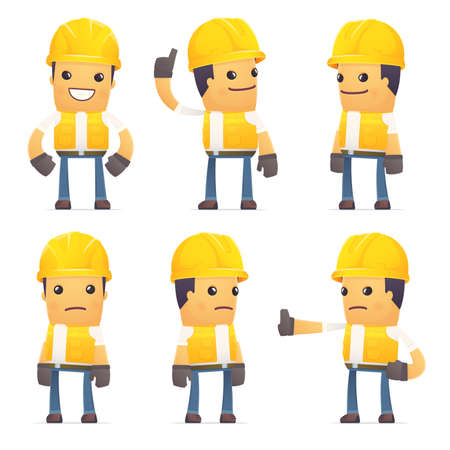 hypocrite: set of contractor character in different interactive  poses Illustration