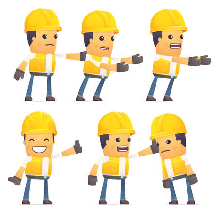embargo: set of contractor character in different interactive  poses Illustration