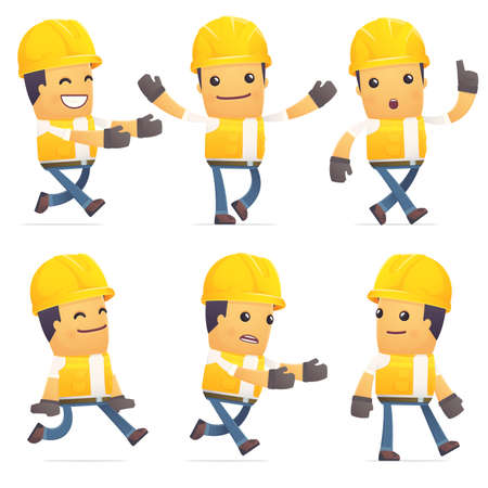 flurry: set of contractor character in different interactive  poses Illustration