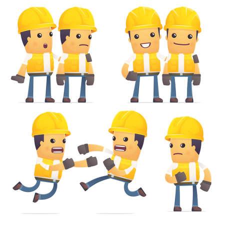 set of contractor character in different interactive  poses Illusztráció