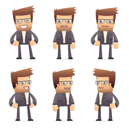 set of director character in different interactive  poses Vector