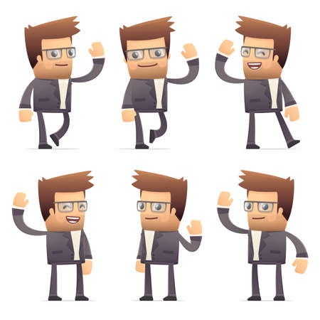 set of director character in different interactive  poses Stock Vector - 30290891