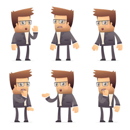 worried executive: set of director character in different interactive  poses