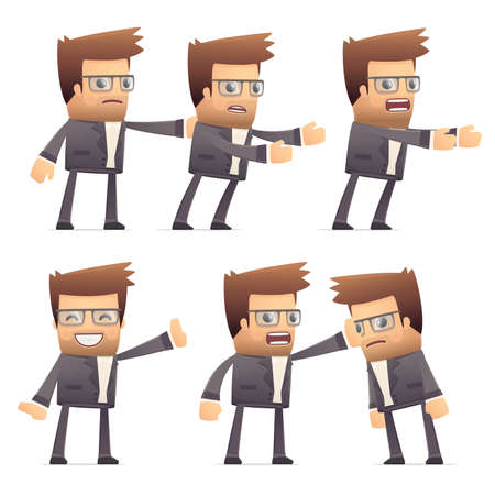 interdict: set of director character in different interactive  poses