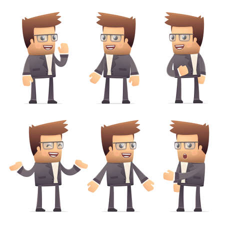 set of director character in different interactive  poses Stock Vector - 30290893