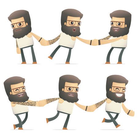 set of tattoo artist character in different interactive  poses Vector