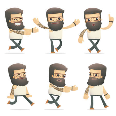 flurry: set of tattoo artist character in different interactive  poses